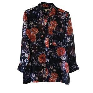 Aritzia Wilfred 100% Silk Floral Sheer Shirt